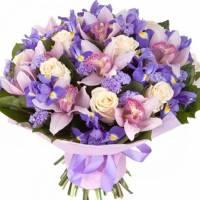 Сборный букет с орхидеями и ирисами R006