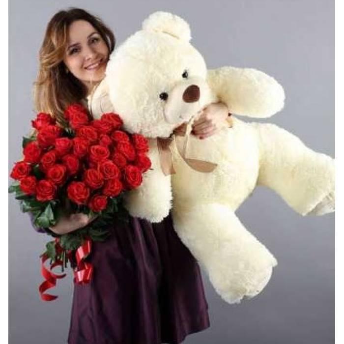 Букет 25 крупных красных роз и большой мишка R013